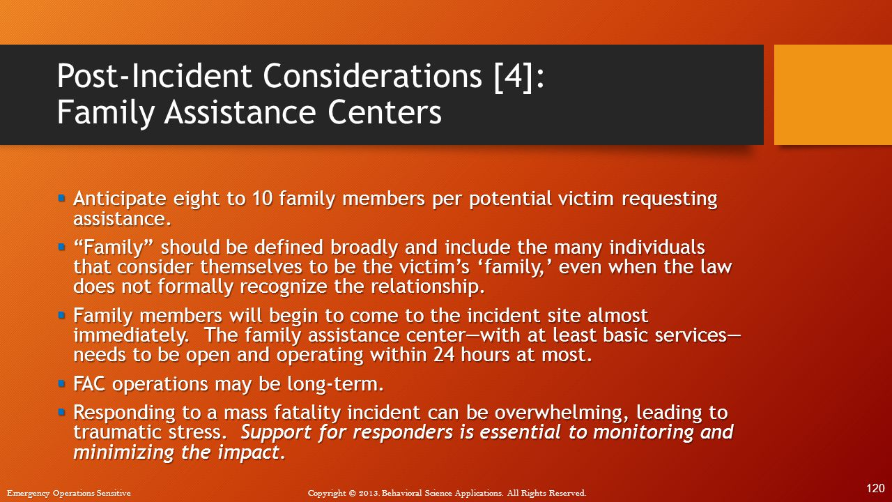 Post-Incident Considerations [4]: Family Assistance Centers